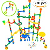 Giant Marble Run Toy Track Super Set Game | MagicJourney 230 Piece Marble Maze Building Sets w/ 200 Colorful Marble Tracks, 30 Marbles & 4 Challenge Levels for STEM Learning, Endless Educational Fun