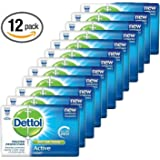 Dettol Anti-Bacterial Hand and Body Bar Soap, Active, 110 Gr / 3.88 Oz (Pack of 12)