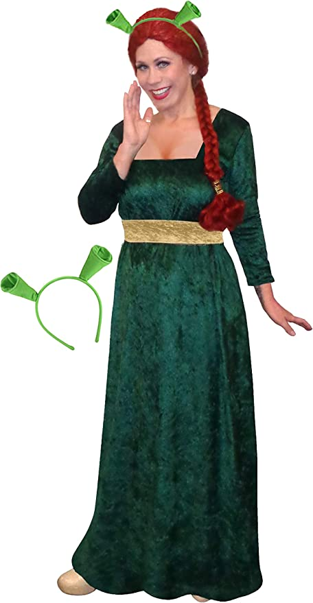 Shrek Princess Fiona Costume Wig Ogre Womens Ladies Fancy Dress Outfit