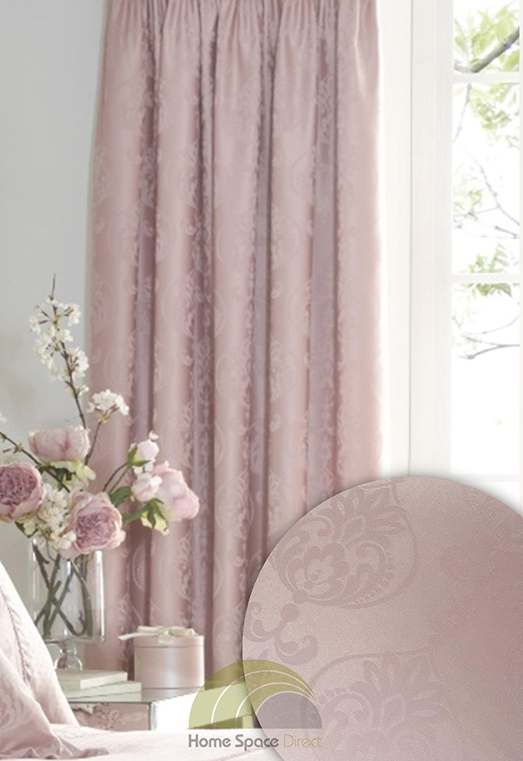 Luxury Rose Pink Jacquard Woven Curtains Fully Lined Pencil Pleat 66x72  Inches: Amazon.co.uk: Kitchen U0026 Home