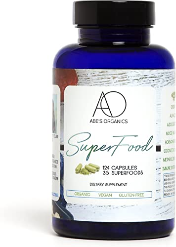 Organic Green Superfood Capsules Promotes Energy, Focus, Alkalinity, Detox Immune Strength Greens Powder with Spirulina, Chlorella, Ashwaganda, Turmeric, Acai, Maca and more 124 Vegan Capsules