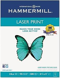 Hammermill 104604 Laser Print Office Paper, 98 Brightness, 24lb, 8-1/2 x 11, White, 500 Sheets/Rm