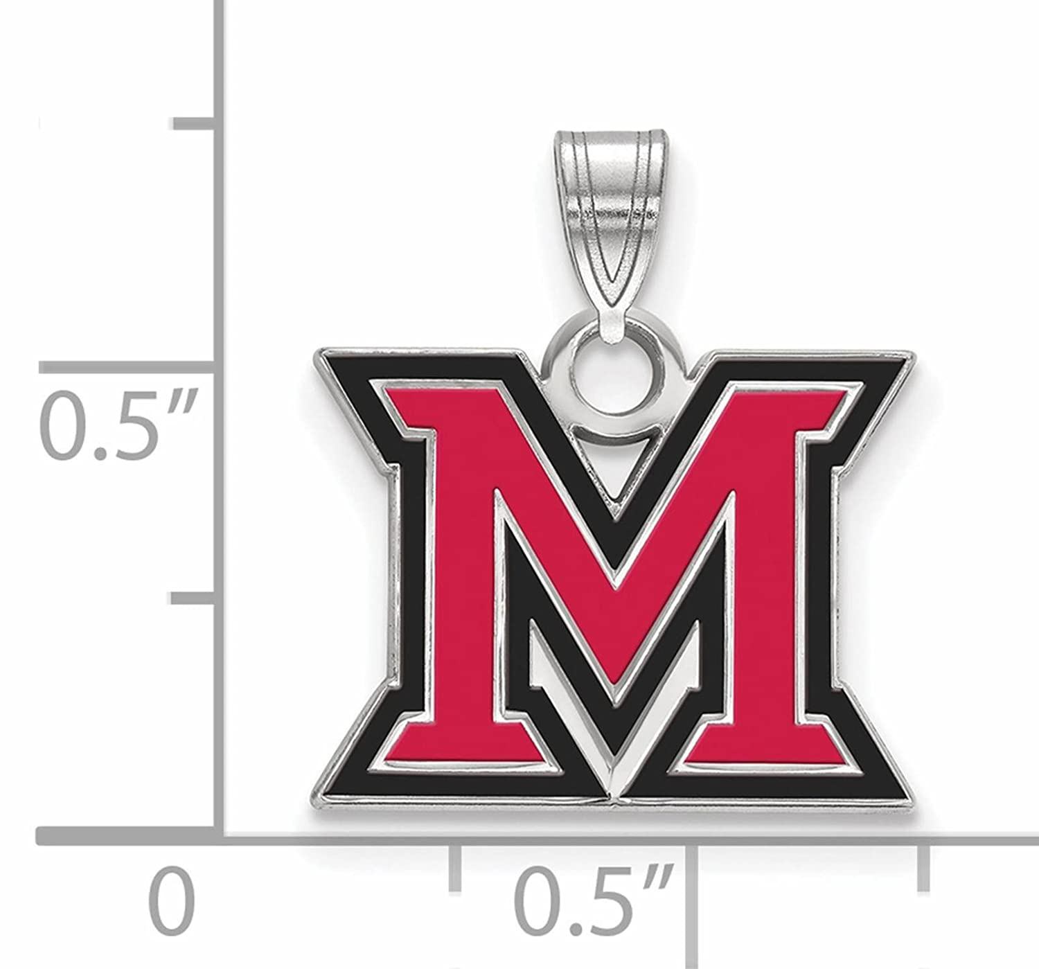 925 Sterling Silver Rhodium-plated Laser-cut Miami University Small Enameled Pendant