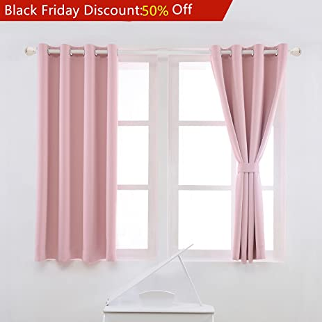 YOJA Thermal Insulated Window Treatment Blackout Curtains Drapes,Light  Pink,52u0026quot;W X