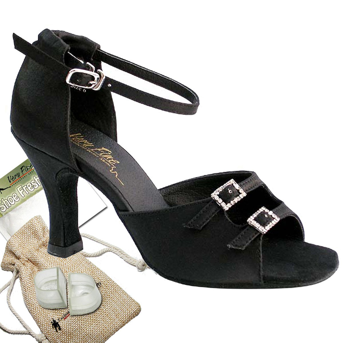 Womens Ballroom Dance Shoes Tango Wedding Party Salsa Shoes Black Satin 1620EB Comfortable - Very Fine 2.5'' Heel 9.5 M US [Bundle of 5]