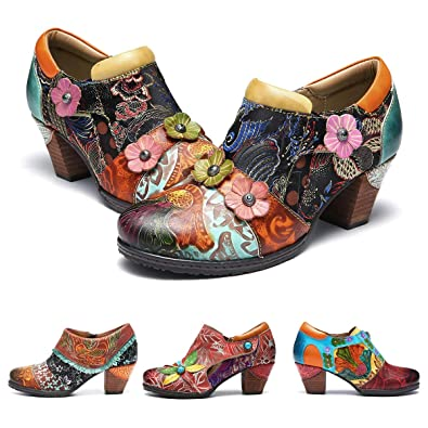 d6765f6d22a gracosy Women s Mary Jane Leather Pumps Vintage Mid Block Heel Ankle Boots  Soft Round Toe Moccasins Ladies Comfortable Sring Summer Shoes Bohemian  Handmade ...