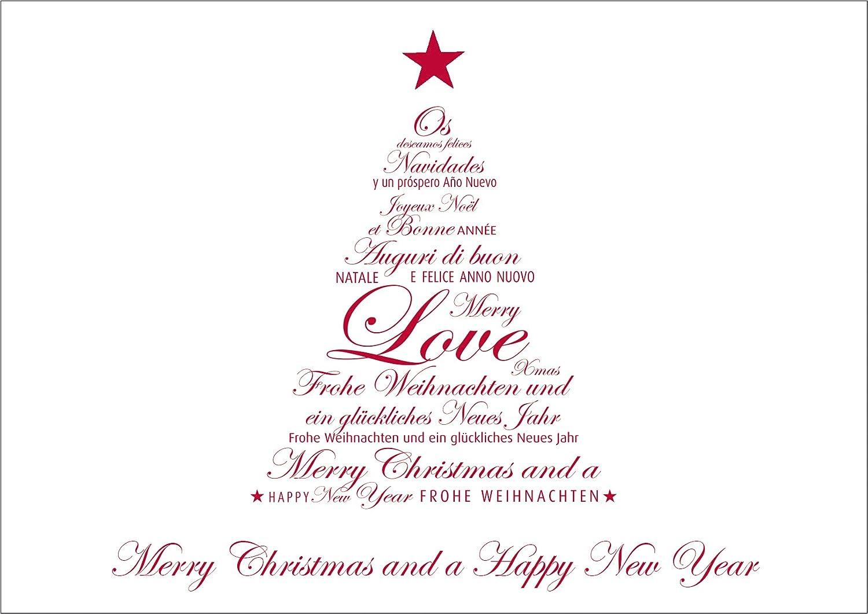 Frohe Weihnachten Englisch.Weihnachtskarte Glückwunschkarte Mit Einem Roten Typo Tannenbaum Und