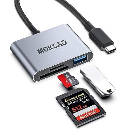 Amazon.com: Lector de tarjetas SD USB C, MOKCAO 3 en 1 Tipo ...