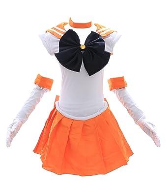 Kawaii-Story H de 6003 Sailor Moon Venus Naranja Blanco Cosplay Dress Disfraz Costume