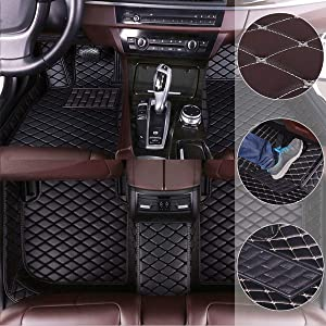Car Floor Mats for Hyundai Genesis 2009-2017 Custom Leather mat Full Surrounded Cargo Liner All Weather Protection Waterpoof Non-Slip Set Left Drive Black