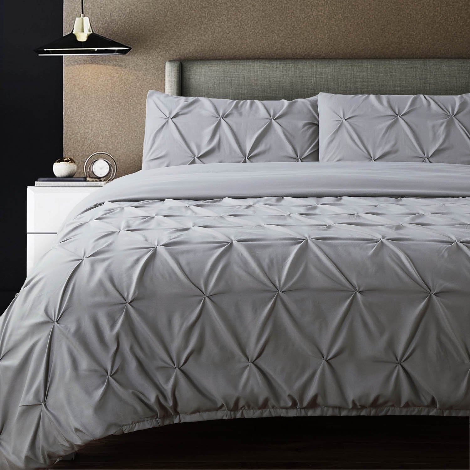 Bedsure Pintuck Duvet Cover Set Queen/Full Size Grey Pinch Pleat Duvet Cover 3 Pieces Bedding Set
