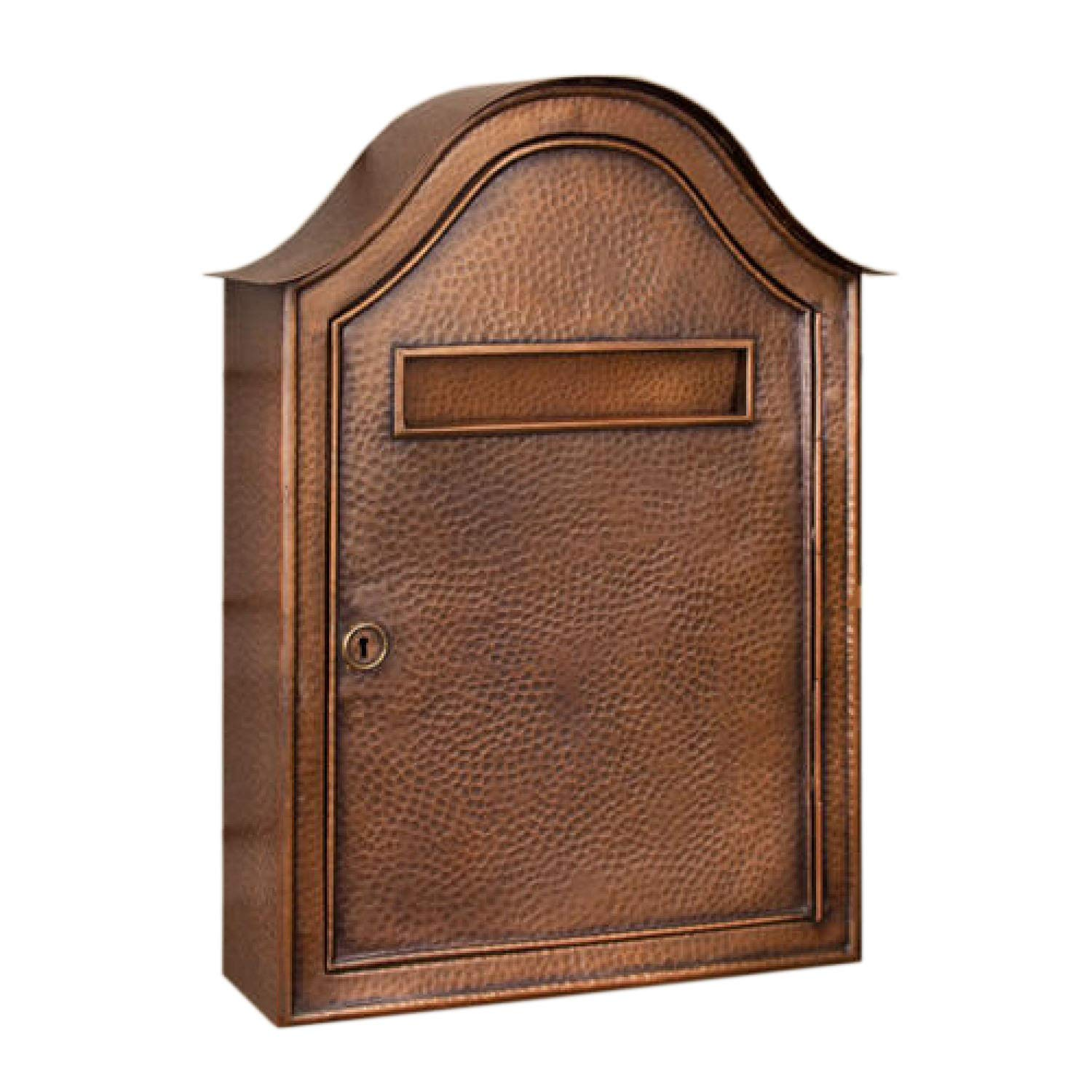 Naiture Copper Large Hammered Wall-Mount Mailbox in Antique Copper Finish