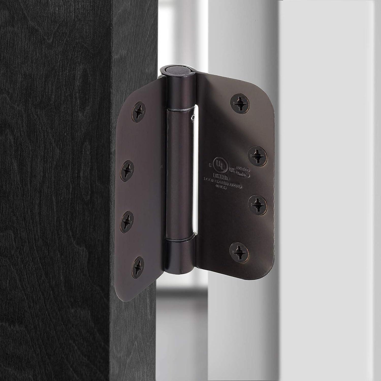 Satin Nickel Cauldham UL Listed 2 Pack Heavy-Duty 4 Self-Closing Spring Door Hinge with 5//8 Radius Corners