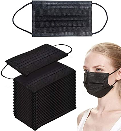 black disposable mask