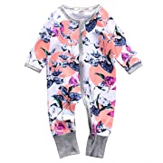 Newborn Baby Girl Floral Clothes Warm Long Sleeve Romper Zipper Jumpsuit Playsuit Outfit (0-3 Months)