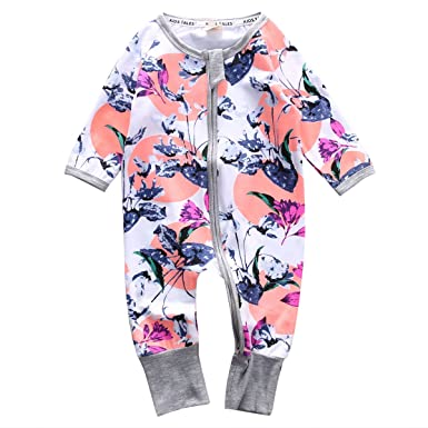 5a084f5d82 Amazon.com  honeys Infant Newborn Baby Girl Zipper Floral Print Romper  Bodysuit Outfit  Clothing