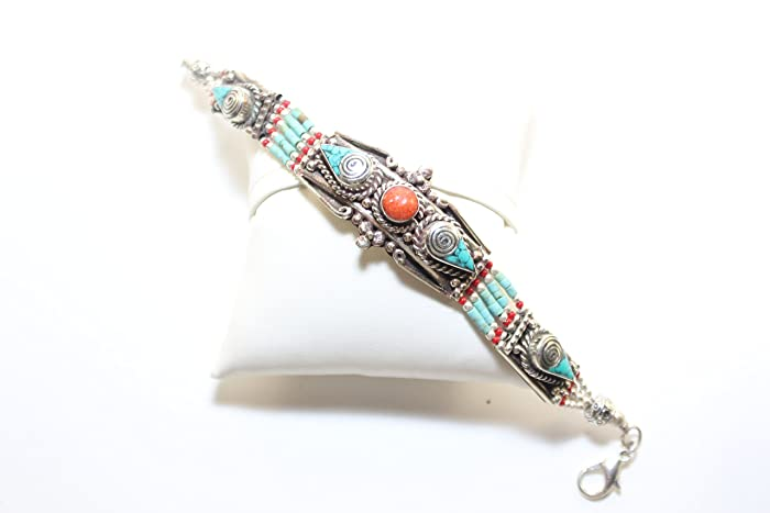 4be0a0d487226 Image Unavailable. Image not available for. Color  Tibet Handmade Bracelet  Crushed Inlaid ...