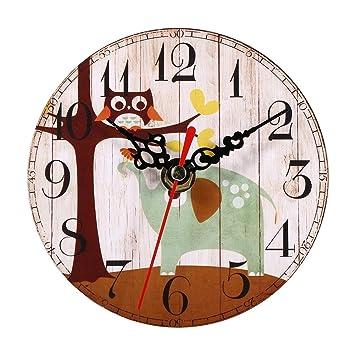 Relojes de Pared de Madera, 7 tipos de estilo Vintage relojes de pared de madera redonda oficina en casa decoración del dormitorio(#1): Amazon.es: Hogar