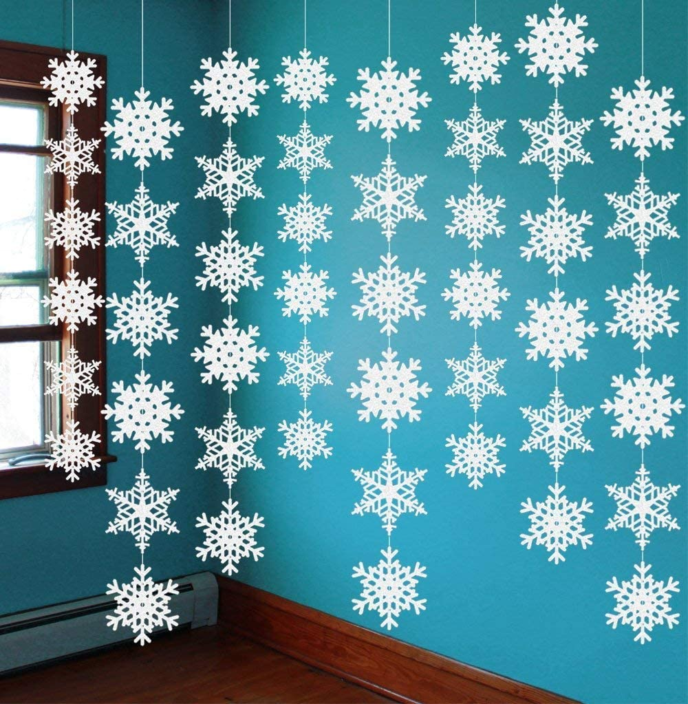 12PCS Snowflake Winter Wonderland Birthday Decorations - Christmas Hanging White Party Decor Supplies