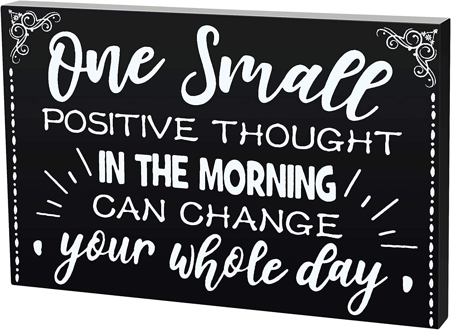 Jetec 7.87 Inch Wooden Motivational Sign Large Inspirational Word Box Sign Talk Sign Black Wood Plaque Block Desktop Decor Positve Thought Wall Decoration for Table Home Room Office Decor