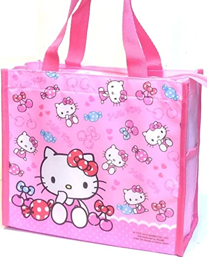 9f33ea3b98 Image Unavailable. Image not available for. Color  Hello Kitty Lunch Box  Bento Food Storage Zipper Tote ...