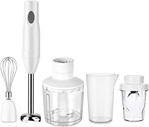 Aidbot 5-in-1 Immersion Hand Blenders, Powerful 150W BPA-Free Hand Mixer Stick for Baby, Detachable Food Chopper Including Whisk with 17oz, 20oz Container & powder Container