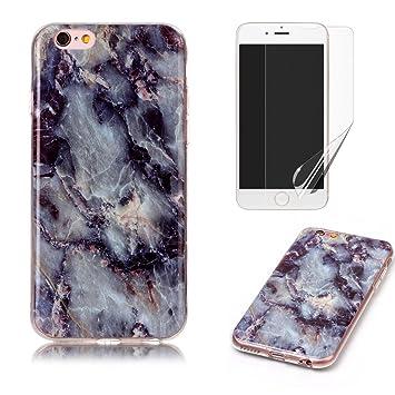 7ceb151e549 Funda para iphone 4/4S Silicona Marmol Gris y Negra,OYIME Carcasa Ultrafina  Slim Suave Lujo ...