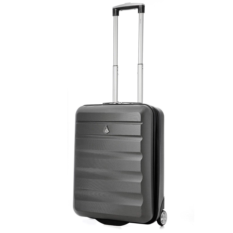 Aerolite 55x40x20 Tamaño Máximo de Ryanair y Vueling ABS Trolley Maleta Equipaje de mano cabina ligera con 2 ruedas (Maleta Carbón + 2do Bolso Negro): ...