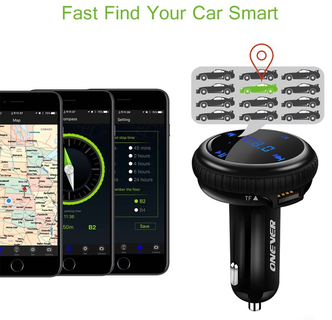 Bluetooth FM Transmitter, ONEVER Car Charger with Smart Locator, 5V 2.1A USB Charging Port, Wireless In-Car Radio Adapter MP3 Player Hands-Free Calling Car Kit for iPhone Samsung Smartphone by ONEVER (Image #5)