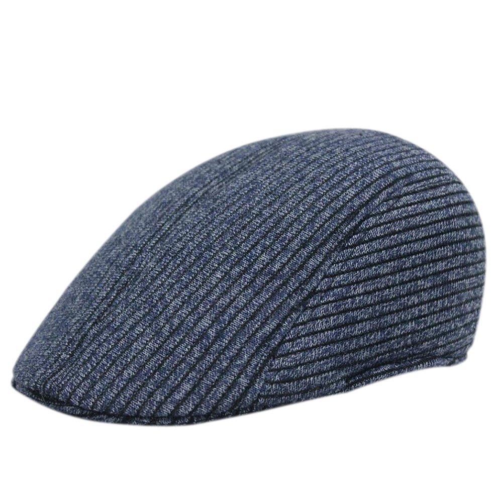 BIGBOBA Retro Striped Knitted Hat Unisex Duck Bill Hat Outdoor Leisure Visor Retro Newspaper Boy Flat Old People Warm Cotton Hat Cap 57–58cm, Black, 57-58CM