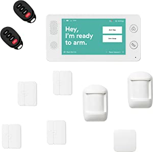 Cove 10 Piece Wireless Home Security System with 24/7 Professional Monitoring Trial, No Contracts — Touch Screen Panel, Door/Window Sensors, Motion Sensors, Flood Sensor, Key Remotes
