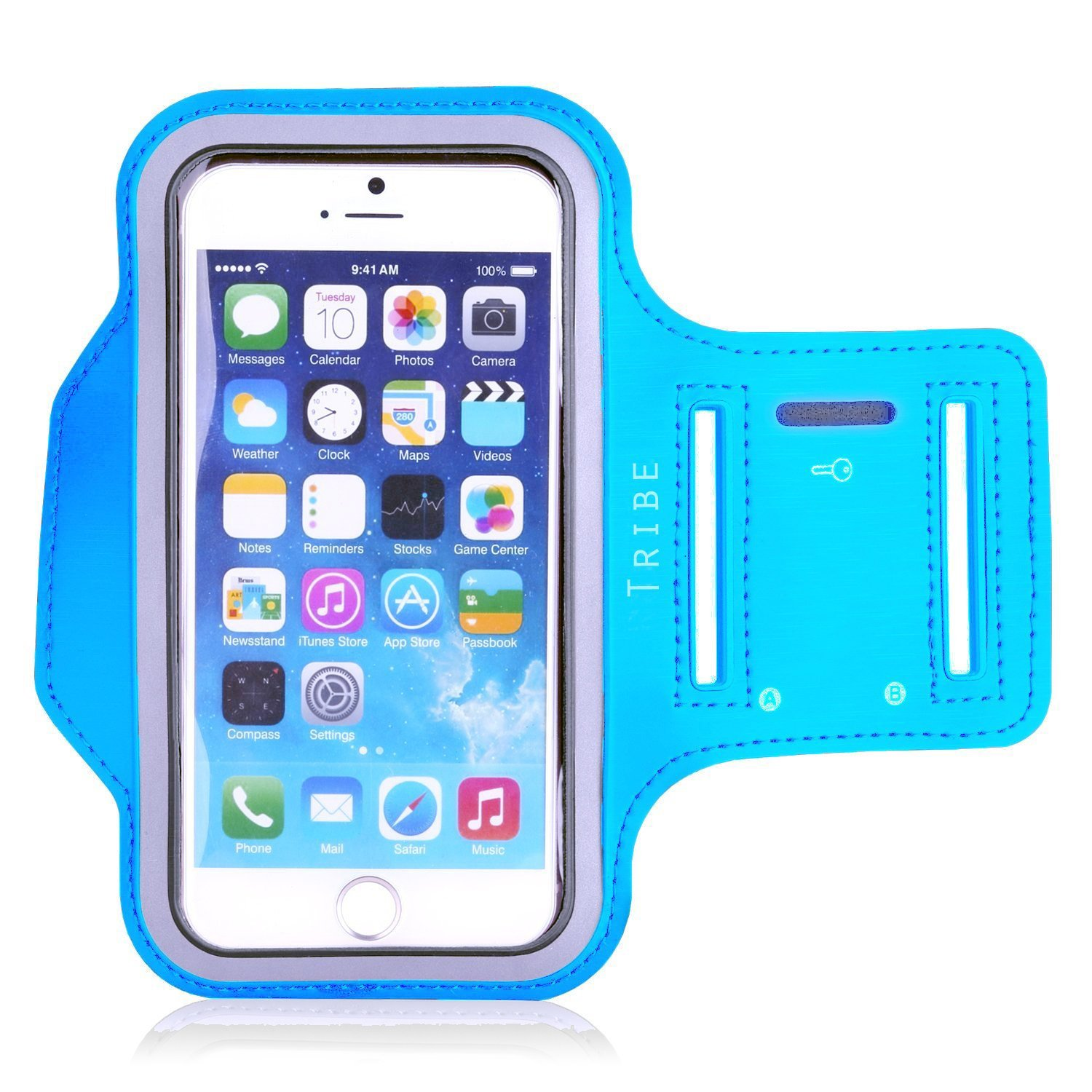 TRIBE Water Resistant Cell Phone Armband Case for iPhone 8, 7, 6, 6S, Samsung Galaxy S9, S8, S7, S6 with Adjustable Elastic Band & Key Holder for Running, Walking, Hiking AB37