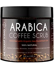 O Naturals Anti-Cellulite Exfoliating Coffee Arabica Dead Sea Salt Body & Legs Scrub. Helps Treats Acne Scars Eczema Wrinkles Stretch Marks Varicose Veins Poor Circulation. Coconut Oil Vitamin E. 239g