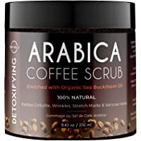 O Naturals Exfoliating Dead Sea Salt Coffee Arabica Scrub Cellulite Massage Scrub for Face Body & Legs. Hydrating Sea…