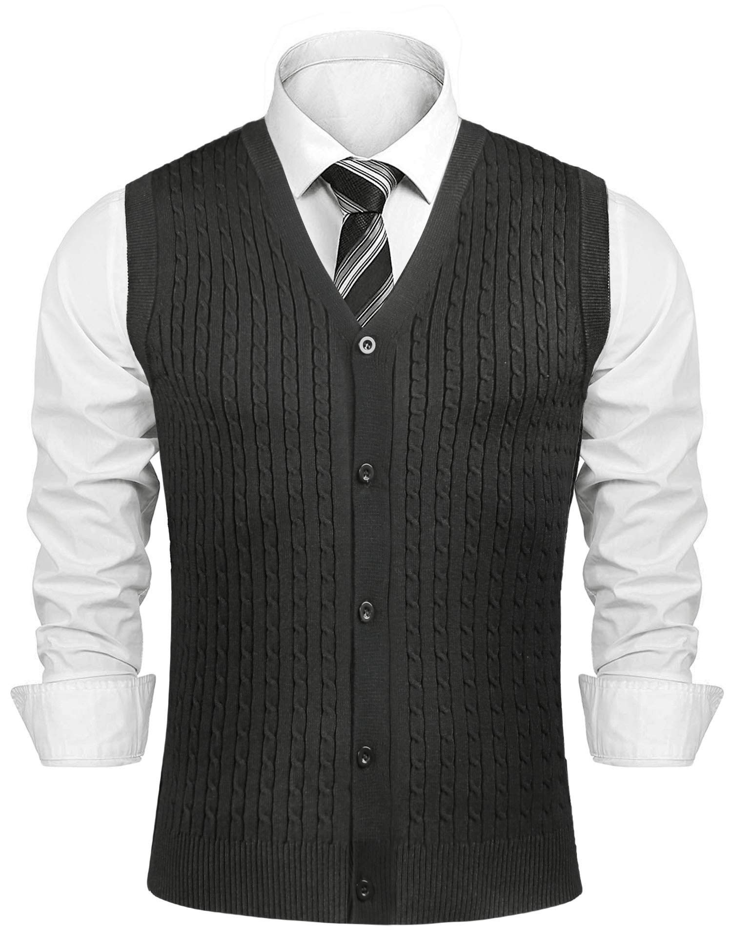 Aibrou Men's V-Neck Button Front Sweater Vest with Twist Cable (L,Dark Grey) by Aibrou