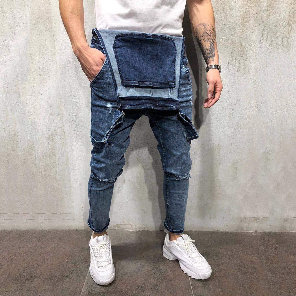 iYBUIA Mens Denim Bib Overalls Fashion Ripped Jeans Slim Jumpsuit with Pockets