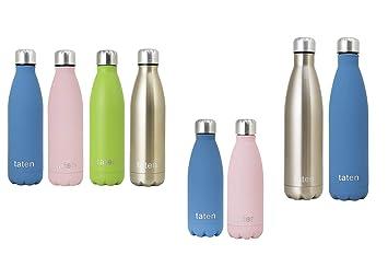 Taten Bottles - Botella de Agua de Acero Inoxidable de Doble Pared, Aislante, 12 Horas de Calor y 24 Horas de frío, 350 ml, 500 ml y 750 ml