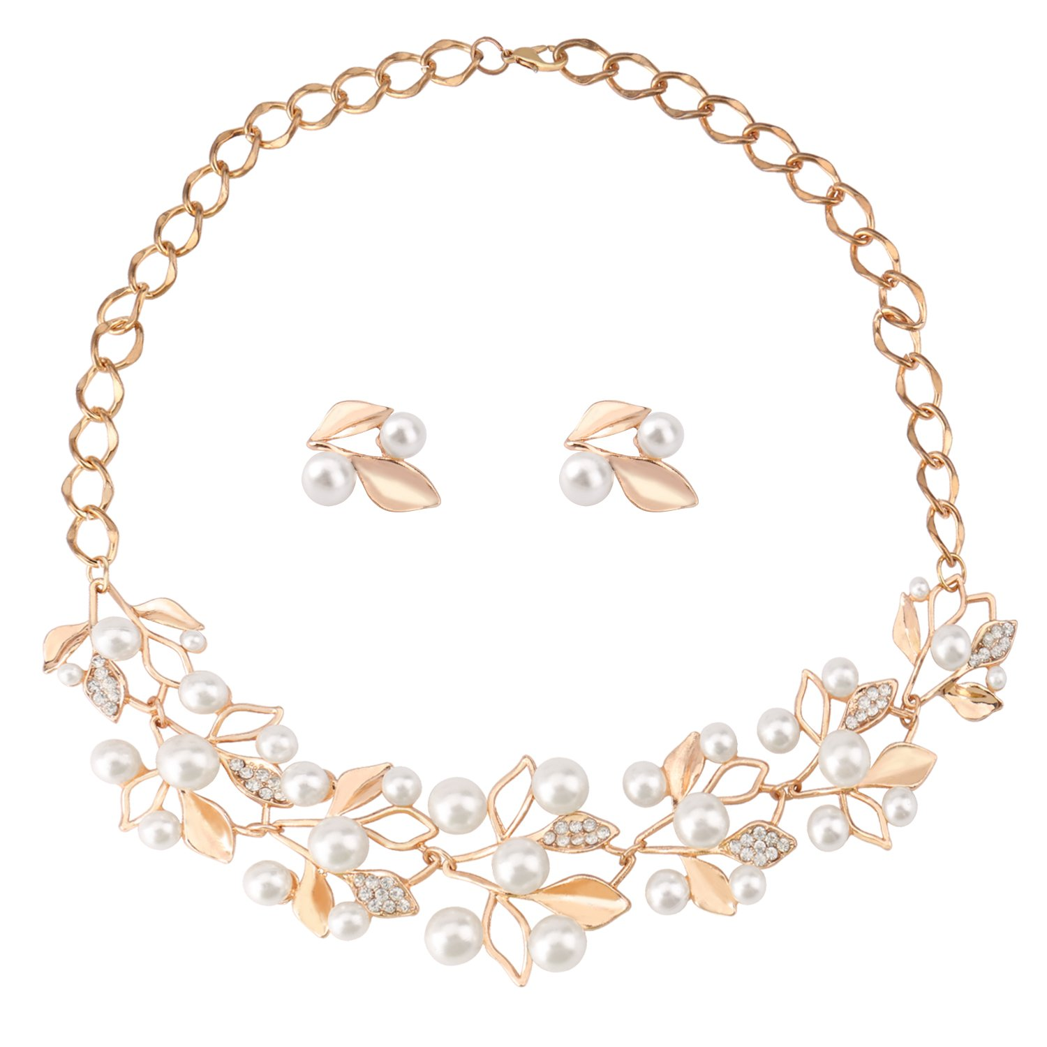 UHIBROS Gold Rhinestone Crystal Pearl Necklace Earrings Stub Alloy Jewelry Set