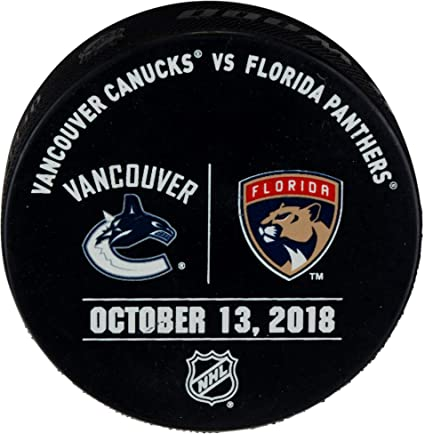 6c78656be Florida Panthers Game-Issued Warm-Up Puck vs. Vancouver Canucks on ...