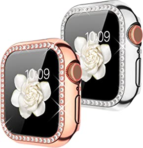 Goton Compatible for Apple Watch Case 40mm, (2 Packs) Women Girls Bling Crystal Diamond Watch Full Cover Screen Bumper Case for iWatch SE / Series 6 / Series 5 / Series 4 (Silver+Rosegold, 40mm)