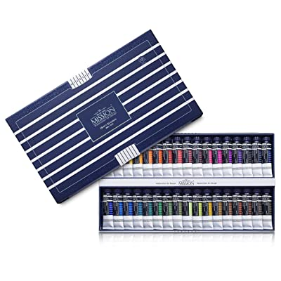 Mijello Water color MISSION White Class Watercolors 34pcs x 15ml: Arts, Crafts & Sewing
