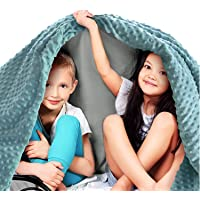 """Quility Premium Kids Weighted Blanket & Removable Cover - 5 lbs - 36""""x48"""" - for a Child Between 40-70 lbs - Single Size Bed - Premium Glass Beads - Cotton/Minky - Grey/Aqua Color"""