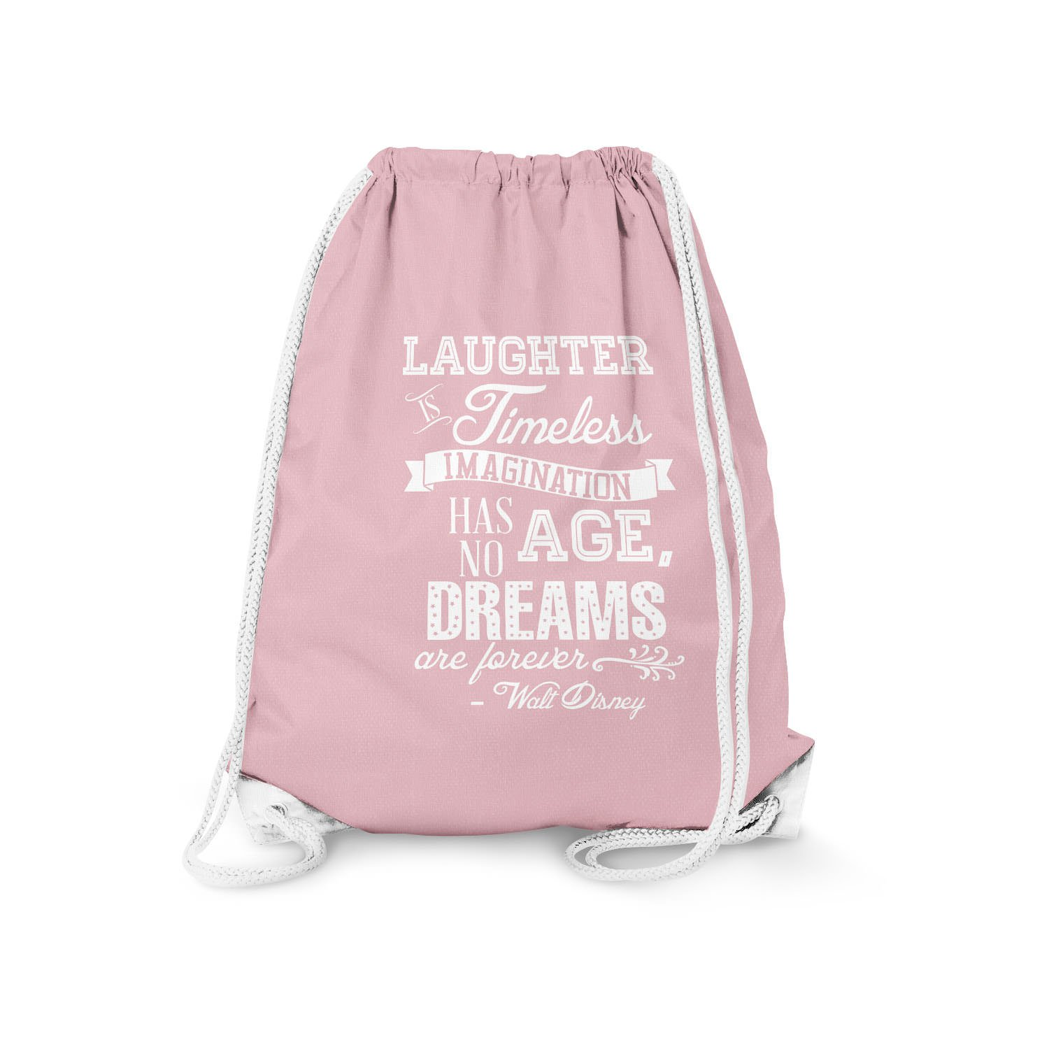 Laughter is Timeless Walt Disney Quote Pink 11.7 x 14.6 - Drawstring Bag Small