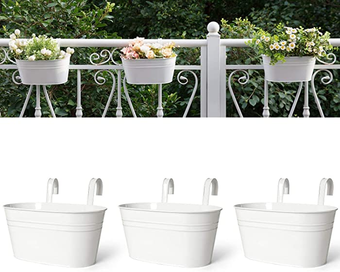 Dahey 3 Pack Metal Iron Hanging Flower Pots for Railing Fence Balcony Garden Countryside Style Window Plant Holder Home Decor with Detachable Hooks,White