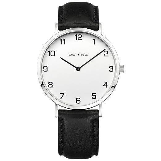 BERING Reloj Analógico para Hombre de Cuarzo con Correa en Cuero 13940-404: Amazon.es: Relojes