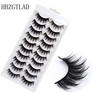 9d8330f8237 Amazon.com : NEW 10 pairs 100% Real Mink Eyelashes 3D Natural False  Eyelashes 3d Mink Lashes Soft Eyelash Extension Makeup Kit Cilios, F055 :  Beauty