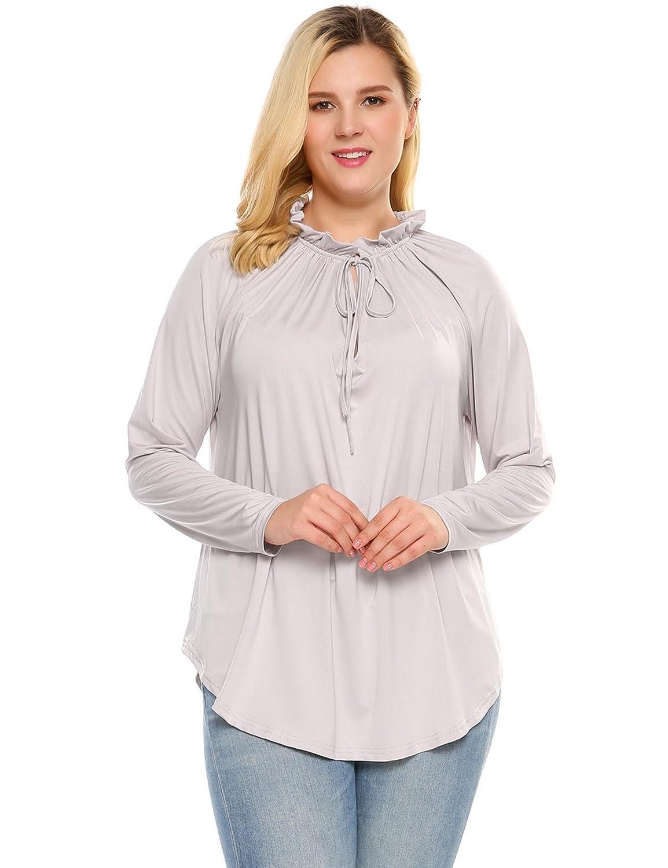 c70d83de097 Zeagoo Women s Long Sleeve Casual Tops Plus Size Peasant Blouse Shirt