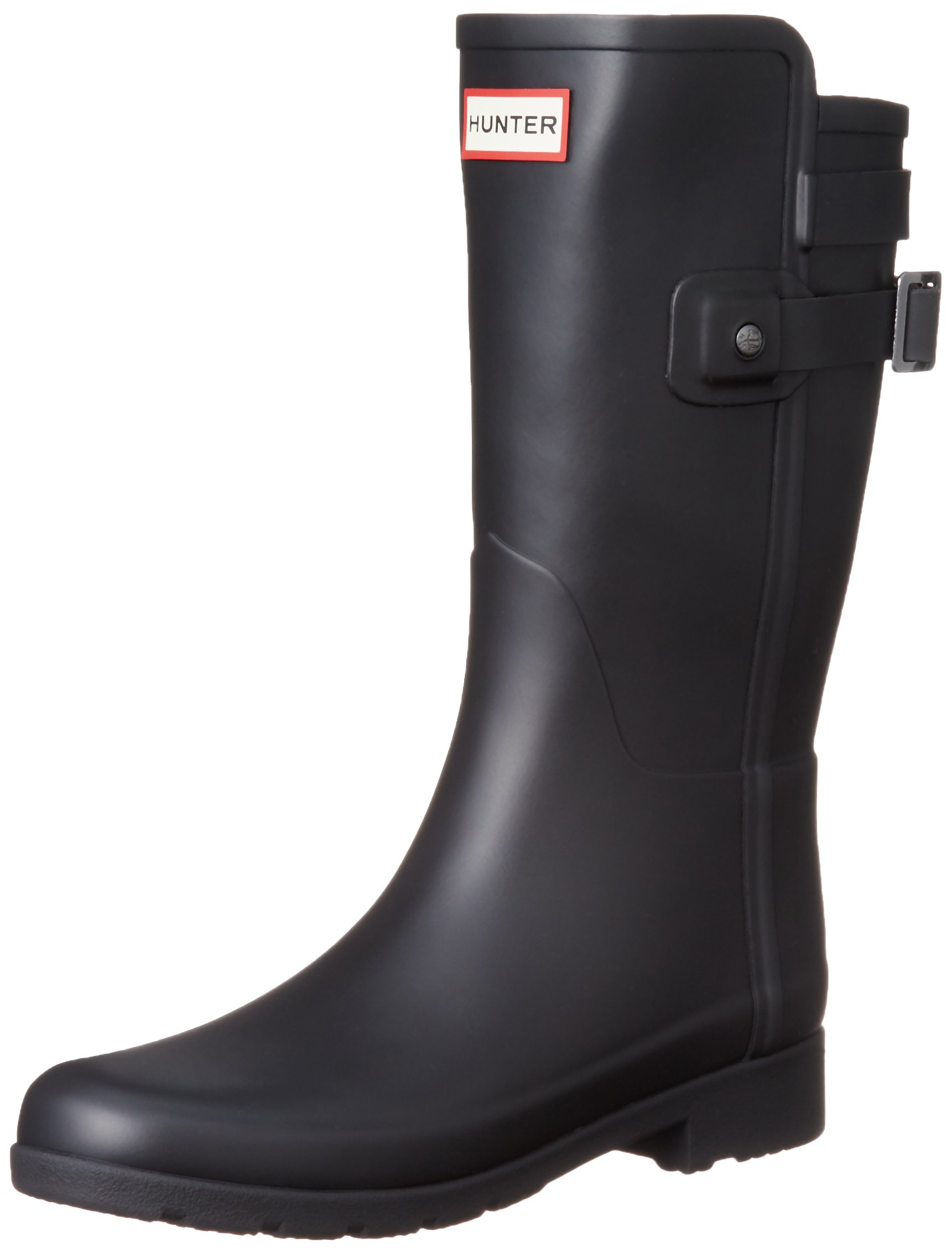 Hunter Women's Original Short Refined Back Strap Rain Boots Black 5 M US