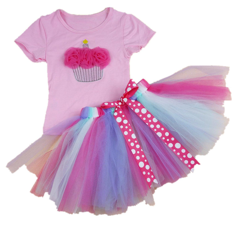 AISHIONY Kid Girl 4th Birthday Tutu Princess Dress Shirt Rainbow Skirt Outfit