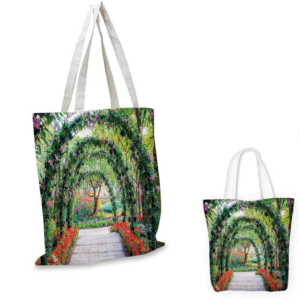 12x15-10 Garden canvas messenger bag Watercolor Painting of Daffodils with Green Leaves Cute Aquarelle Flora Bouquet canvas beach bag Orange Green